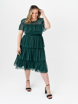 Anaya With Love Recycled Pine Green Tiered Midi Dress with Ruffle Detail - PLUS SIZE Wholesale Pack