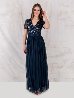 Maya Navy Stripe Embellished Maxi Dress With Sash Belt - STRAIGHT SIZE Wholesale Pack