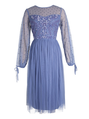 Maya Blue Embellished Long Sleeve Midi Dress - Wholesale Pack