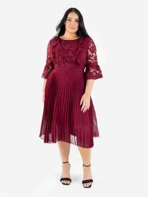 Lovedrobe Luxe Berry Pleated Midi Dress with Lace Detail - Wholesale Pack