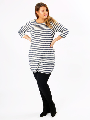 Koko Blue Stripe Tunic With 3/4 Sleeves - Wholesale Pack