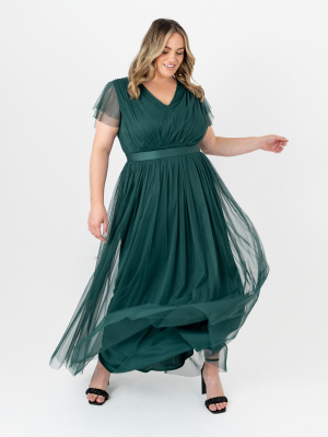 Anaya With Love Pine Green V Neckline Recycled Tulle Maxi Dress With Sash Belt - PLUS SIZE Wholesale Pack