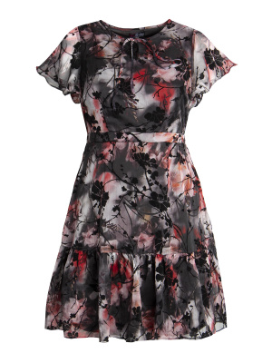 Lovedrobe Flocked Floral Tea Dress - Wholesale Pack