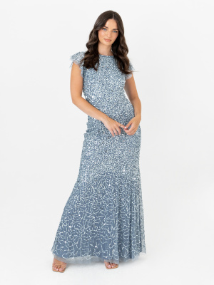 Maya Storm Blue Fully Embellished Flutter Sleeve Maxi Dress - Wholesale Pack