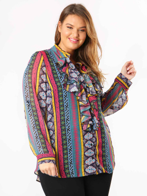 Lovedrobe GB Aztec Print Frill Front Shirt - Wholesale Pack