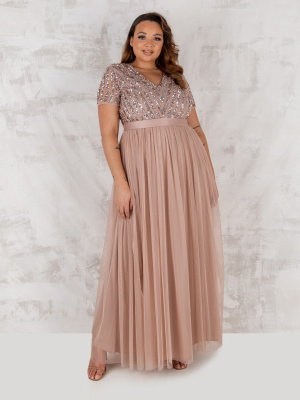 Maya Taupe Blush Stripe Embellished Maxi Dress With Sash Belt - PLUS SIZE Wholesale Pack