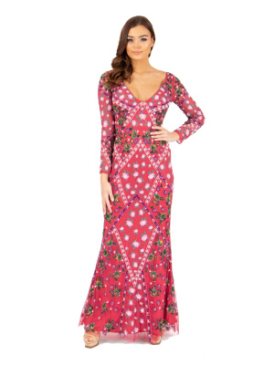 Maya Floral Embellished Maxi Dress with Keyhole Back - Wholesale Pack