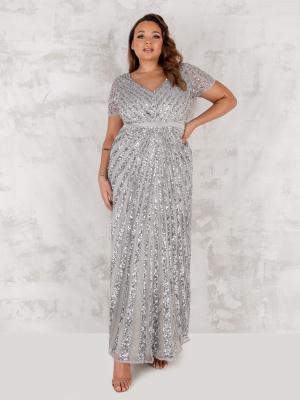 Maya Curve Soft Grey Short Sleeve Stripe Embellished Maxi Dress - PLUS SIZE Wholesale Pack