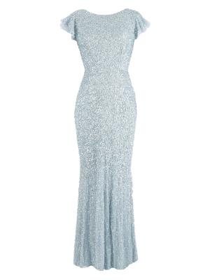 Maya Light Blue Fully Embellished Flutter Sleeve Maxi Dress - Wholesale Pack