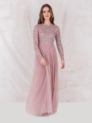 Maya Frosted Pink Embellished Long Sleeve Maxi Dress - STRAIGHT SIZE Wholesale Pack