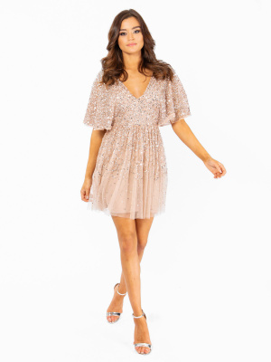 Maya Taupe Blush Embellished Kimono Sleeve Mini Dress - Wholesale Pack