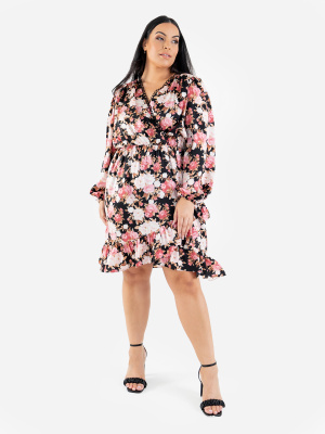 Lovedrobe Luxe Faux Wrap Floral Midi Dress with Balloon Sleeves and Ruffle Detail - Wholesale Pack