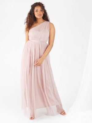 Anaya With Love Frosted Pink One Shoulder Recycled Tulle Maxi Dress - Wholesale Pack