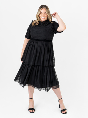 Anaya With Love Recycled Black Textured Tiered Midi Dress with Sheer Detail - PLUS SIZE Wholesale Pack