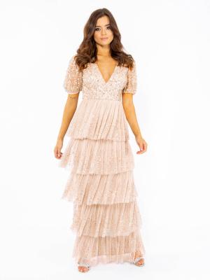 Maya Taupe Blush Short Sleeve Embellished Tiered Maxi Dress - Wholesale Pack