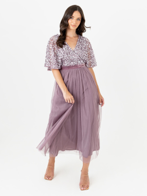 Maya Moody Lilac Embellished Faux Wrap Front Midaxi Dress with Velvet Waistband - Wholesale Pack