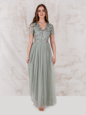 Maya Green Lily Stripe Embellished Maxi Dress With Sash Belt - STRAIGHT SIZE Wholesale Pack