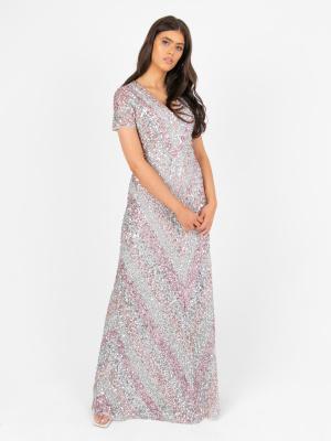 Maya Multi Stripe Fully Embellished Maxi Dress - Wholesale Pack