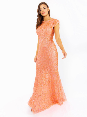 Maya Coral Fully Embellished Flutter Sleeve Maxi Dress - Wholesale Pack