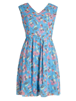 Maya Blue Floral Cap Sleeve Mini Dress - Wholesale Pack