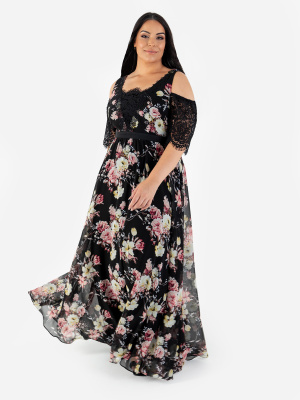Lovedrobe Luxe Floral Cold Shoulder Maxi Dress with Lace Detail - Wholesale Pack