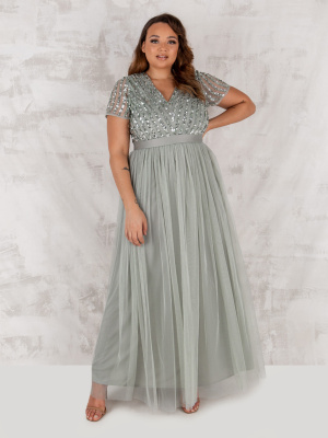Maya Green Lily Stripe Embellished Maxi Dress With Sash Belt - PLUS SIZE Wholesale Pack