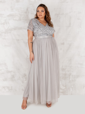 Maya Soft Grey Stripe Embellished Maxi Dress With Sash Belt - PLUS SIZE Wholesale Pack