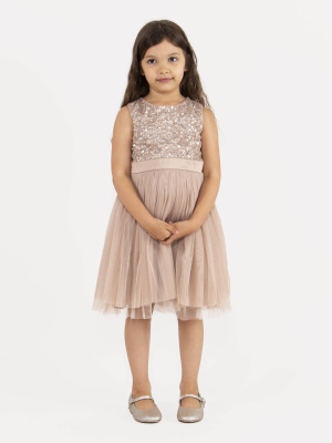 Mini Maya Taupe Blush Delicate Sequin Midi Dress with Bow - Wholesale Pack