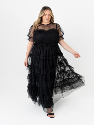 Anaya With Love Recycled Black Short Sleeve Tiered Maxi Dress with Frill Detail - STRAIGHT SIZE Wholesale Pack
