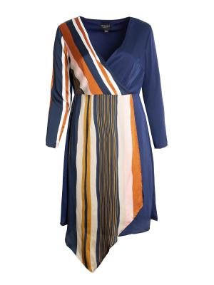 Lovedrobe Satin Multi Stripe Wrap Dress - Wholesale Pack
