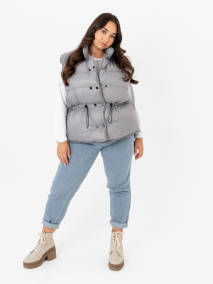 Lovedrobe Silver Short Padded Gilet With Drawstring Waist - PLUS SIZE Wholesale Pack