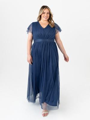 Anaya With Love Indigo Blue V Neckline Recycled Tulle Maxi Dress With Sash Belt - PLUS SIZE Wholesale Pack