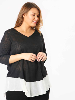 Koko Black V Neck Top With Semi Sheer Panel - Wholesale Pack