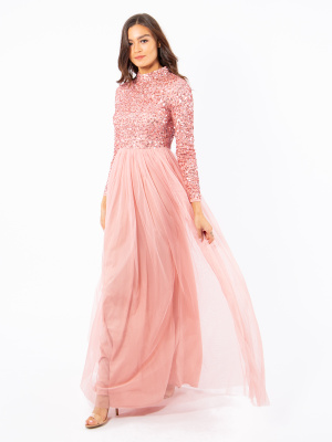 Maya Blossom Pink High Neck Embellished Maxi Dress - Wholesale Pack