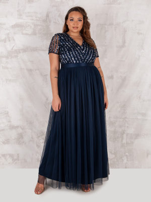 Maya Navy Stripe Embellished Maxi Dress With Sash Belt - PLUS SIZE Wholesale Pack