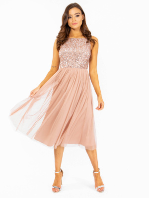 Maya Pale Mauve Embellished Keyhole Back Midi Dress - Wholesale Pack