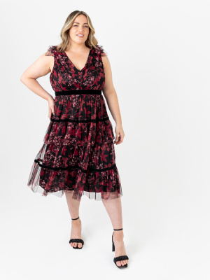 Anaya With Love Recycled Floral Midi Dress with Velvet Detail - PLUS SIZE Wholesale Pack