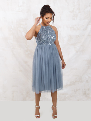 Maya Dusty Blue Embellished Halter Neck Midi Dress - Wholesale Pack