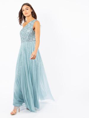 Maya Aquatic Blue One Shoulder Embellished Maxi Dress - Wholesale Pack