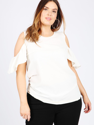Koko White Cold Shoulder Top With Frill Sleeve - Wholesale Pack