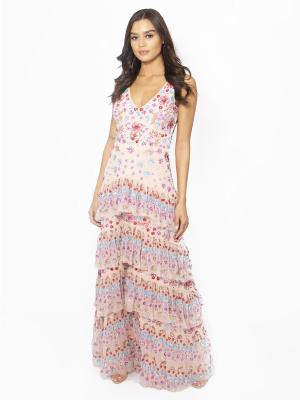Maya Multi Embellished Tiered Ruffle Detail Maxi Dress - Wholesale Pack