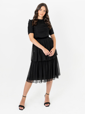 Anaya With Love Recycled Black Textured Tiered Midi Dress with Sheer Detail - STRAIGHT SIZE Wholesale Pack