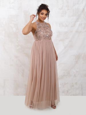 Maya Bow Back Embellished Tulle Maxi Dress Taupe Blush - Wholesale Pack