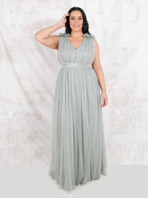 Maya Green Lily Maxi Dress with Ruffle Shoulder Detail - PLUS SIZE Wholesale Pack