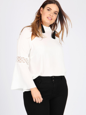 Lovedrobe GB Ivory Lace Contrast Bell Sleeve Blouse - Wholesale