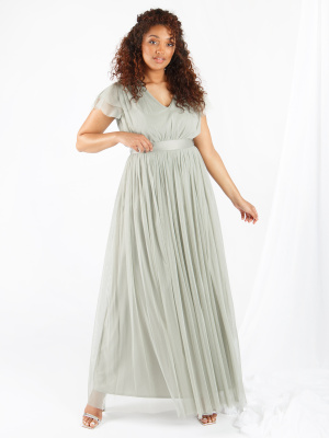 Anaya With Love Soft Sage V Neckline Recycled Tulle Maxi Dress with Sash Belt - Wholesale Pack
