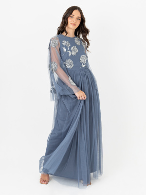 Maya Strom Blue Floral Embellished Maxi Dress with Sheer Kimono Sleeves -Wholesale Pack
