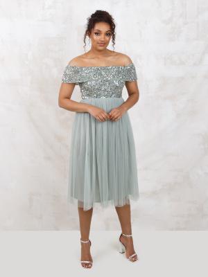 Maya Green Lily Bardot Embellished Midi Dress - Wholesale Pack