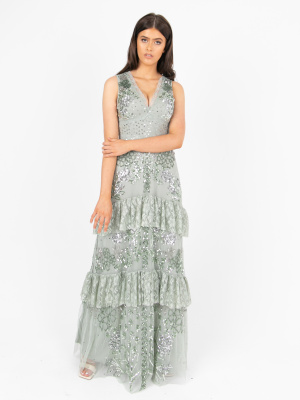 Maya Green Lily Embellished Tiered Maxi Dress  - Wholesale Pack