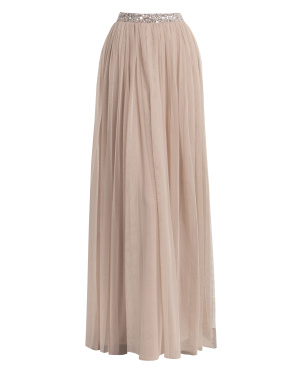 Maya Deluxe Taupe Blush Sequin Co-ord Maxi Skirt - Wholesale Pack